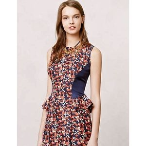 Anthropologie Kachel Silk Floral Peplum Dress 10